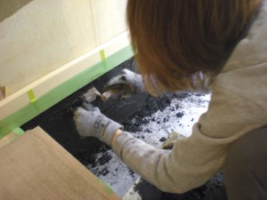 (工事中)玄関土間 壁塗り01