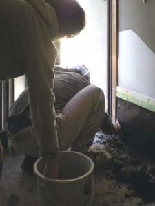 (工事中)玄関土間 壁塗り02