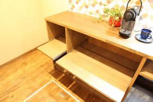 (after)スライド付 キッチン収納カウンター